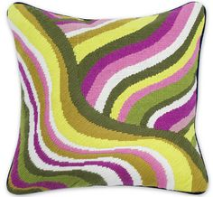 Aside from their obvious coolness, as nursery designers we can't help but appreciate the labor involved to make these incredible pillows by Jonathan Adler.  Each one of these is hand-embroidered using traditional Bargello needlework.  They also have a velvet back and a hidden zipper so they can actually be cleaned.  Fabulous!