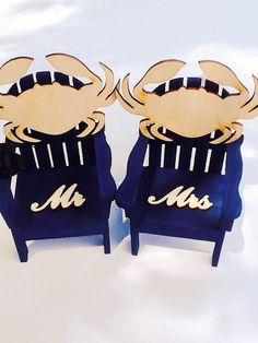 Beach Chair Cake Topper-Crab mr and Mrs cake by NauticalWeddings
