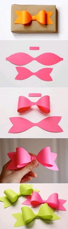 super cute way to make a perfect bow for any gift!! 1. use a pencil to trace the outline on any scrapbook paper 2. cut out and tape it onto your gift!! Super easy and very cute!!
