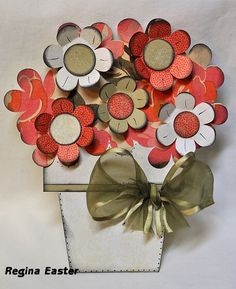 """Flower Pot Shaped Card by The Cutting Cafe This card can be used with sentiments: """"Just Because,"""" """"Happy Mother's Day,"""" """"Happy Mum's Day,"""" """"Special Thoughts of You,"""" """"A Note of Thanks,"""" """"Get Well Soon,"""" and """"If Flowers Were Like Friends I'd Pick You!"""""""
