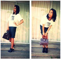 Zara White Tiger Print Top, Studio W Ankle Boot, Re  Leatherette Skirt, My Late Grandma  Bag, Michael Kors Watch