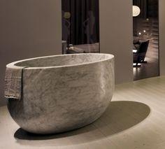 deep marble soaking tub