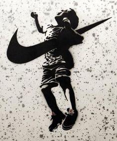 Street art logo war The Blade of Saturn. 'Nike impaling a child', street art, graffiti art. Arte Banksy, Banksy Graffiti, Bansky, Urban Street Art, Urban Art, Urbane Kunst, Street Art Banksy, Street Artists, Oeuvre D'art