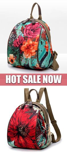 af2b493fbb72  HOT SALE  Flower Pattern Backpack Nylon Shoulder Bag  nylonshoulderbag