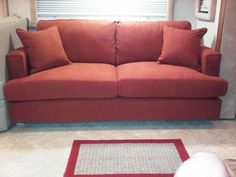 """Smaller Scale RV Sofa - New Motorhome Sofa   Looks like it was made to fit, & it was, it fits perfectly!  It looks so much better & is very comfortable to sit on!  We love it! The quality is excellent, very good craftsmanship.   Your customer service is the best!      Our overall experience doing business with Simplicity Sofas was wonderful, """"A-1.""""   We will certainly recommend you to family & friends for quality made-to-order sofas or chairs, dealing with friendly, super-helpful staff."""