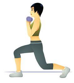 Course et fente. Sollicite: quadriceps, fessiers, ischio-jambiers, biceps, abdominaux. #Fitness  http://www.plaisirssante.ca/ma-sante/forme/l-ultime-camp-d-entrainement-maison?slide=6#