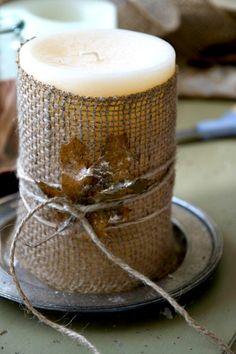 Thanksgiving Birch Bark Candles DIY | Tablescape http://justasmidgen.com/2013/10/10/thanksgiving-birch-bark-candle-diy-tablescapedecor-decor/