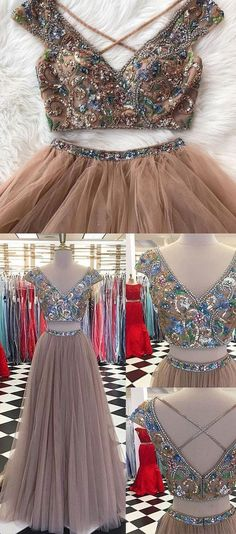 Sparkly Two Pieces Tulle V-neck Cap Sleeves Prom Dresses, Newest Fashion Dresses M0412 #promdresses #longpromdresses #2018promdresses #fashionpromdresses #charmingpromdresses #2018newstyles #fashions #styles #teens #teensprom