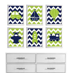 Transportation Nursery Art Chevron Navy Lime more colors available set of 6 each 8x10 via Etsy