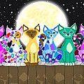 Full Moon Felines Painting by Nick Gustafson