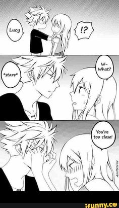 Natsu, Lucy, couple, blushing, funny, text, comic; Fairy Tail