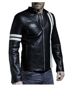 Drivers Black White Stripes Motorcycle Leather Jacket