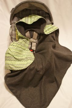 Lime Green and Gray Chevron Print Infant Carseat by DesignsbyRomy, $35.00
