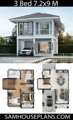 House Plans Idea with 3 bedrooms – Sam House Plans - Haus Ideen Two Story House Design, 2 Storey House Design, Duplex House Design, Tiny House Design, Modern House Design, Home Design, Minimalist House Design, Design Design, Sims House Plans