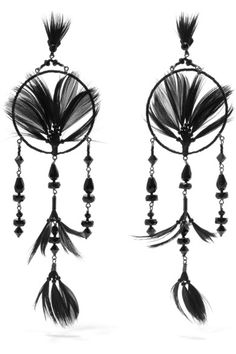 Valentino | Ruthenium-tone, crystal, bead and feather earrings | NET-A-PORTER.COM