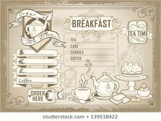 Images, photos et images vectorielles de stock similaires de Restaurant Food Menu Design Chalkboard Background - 196454786 similaires | Shutterstock Bar Menu, Menu Restaurant, Tea Cake Cookies, Vector Design, Graphic Design, Ai Illustrator, Breakfast Tea, Illustrations, Tea Cakes