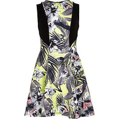 Girls green tropical fit and flare dress $36.00