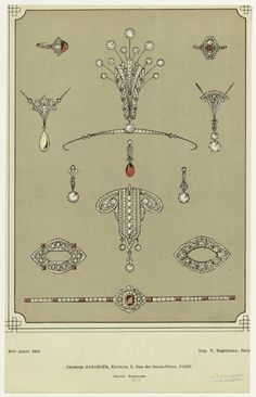 Right at the end of the belle epoque, 1914, a sketch of a French aigrette. A spray of eleven circular diamonds, held within a diamond spray. All ready for the Roaring Twenties.