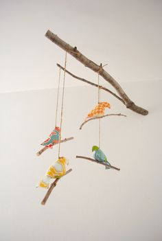 Fabric Bird mobile on natural stick