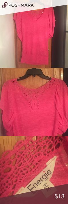 Pink top Bring pink top with cut out design on the back and flowing short sleeves. Slightly gathered at the bottom. Medium by Enerie, from Target. No signs of wear and tear. Energie Tops Tees - Short Sleeve