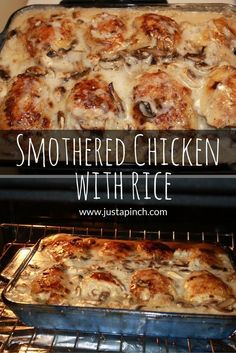 A favorite recipe that your entire family with love! Smothered chicken with rice casserole! #casserole #chickendinner