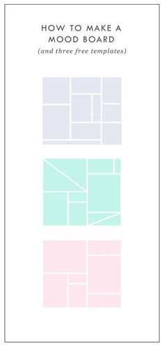 Free Mood Board Templates | Mood boards help align the aesthetic, color palette, and tone of a project. They get me on the same page with my clients. They can also help get the ideas out of my brain (or off of Pinterest, if I'm wedding planning) and into a clearly organized visual hierarchy.