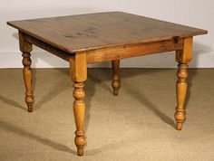 42in Square Reclaimed Barn Wood Table, Honey, New Turned Leg, 1in Top