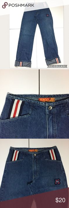 """🆕Listing: Jnco Trip Hop Jeans Jnco Trip Hop Jeans. In great condition. Have red, white and blue detailing at waist and hems. Size 5 measures: 29"""" around the top, 19"""" across at hips, 9"""" rise, 32"""" inseam, 10"""" across thigh, 9"""" across ankle. 100% cotton. Made in USA. 305/50/040217 Jnco Jeans Flare & Wide Leg"""