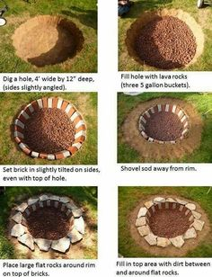 6 fire pits you can make in a day outdoor decorating projects, 31 diy outdoor fireplace and firepit ideas for the home diy, fire pit project (you can do in one hour!), 57 inspiring diy outdoor fire pit ideas to make s'mores with your family, How To Build A Fire Pit, Diy Fire Pit, Fire Pit Backyard, Building A Fire Pit, Backyard Seating, Backyard Patio, Backyard Landscaping, Backyard Bonfire Party, Cheap Outdoor Fire Pit