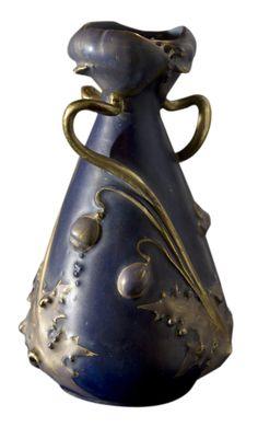 Cobalt Amphora With Poppies