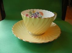 Aynsley Cup and Saucer Portland Floral Yellow  by MyOwnAssortment, $8.99
