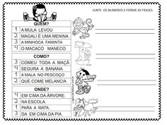 Atividades com a letra M Classroom, Education, Learning, Image, Number Line Activities, Writing Activities, Sentence Writing, Sentence Building, M Letter