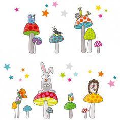Ce sticker les champipis de la marque Série-Golo apporte un décor ludique et coloré à la chambre d'un enfant.