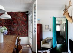 Love the rug on the wall - Vanessa Partridge's Home in Kyneton, Australia | Rue Cosy House, Interior Styling, Interior Design, Wood Interiors, Small House Design, Modern Traditional, Beautiful Interiors, House Colors, Partridge