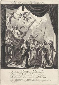 Salomon Savery | Vertoning van de Gekroonde Vrede, 1648, Salomon Savery, Isaac Isaacsz, Tymon Houthaeck, 1649 | Vertoning van de Gekroonde Vrede. Onderdeel van de vertoningen opgevoerd op 23 juni 1648 op de Schouwburg te Amsterdam naar aanleiding van het sluiten van de Vrede van Munster. De eerste voorstelling toont de aankomst van de triomfwagen van de Vrede met de Rechtvaardigheid en de kroning van de Vrede door twee putti. In het onderschrift een vers van 4 regels in het Nederlands. Tapestry, Home Decor, Hanging Tapestry, Tapestries, Decoration Home, Room Decor, Interior Design, Home Interiors, Wall Rugs