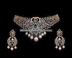 78 Grams Diamond Peacock Necklace - Jewellery Designs