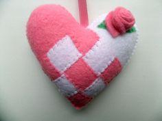 Felt Scandinavian Love Heart Swedish Norwegian Danish Check Valentines Wedding hanging ornament decoration Pastel Pink White