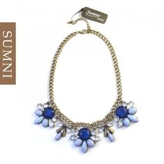 3 Flowers Red/Blue Necklace
