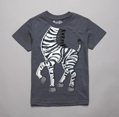 Infant/Toddler S/S Educational Dancing Zebra Tee in Charcoal