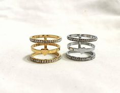 Triple band ring Midi ring Silver knuckle ring Four band