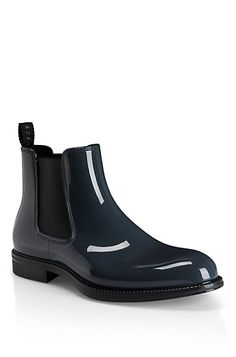Waxed Synthetic Ankle Rain Boots by Hugo Boss for style even when it's pouring out!