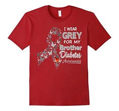 Men's Diabetes Awareness T Shirt - I Wear Grey For My Brother XL Cranberry * Click image for more details.