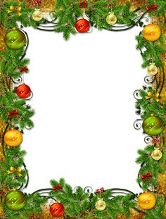 Christmas frame with ornaments and pine
