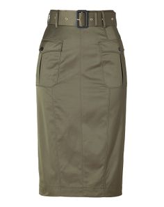 BURBERRY LONDON Aniseed Green Belted Cotton-Blend Pencil Skirt