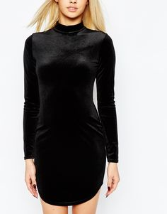 Image 3 of Missguided Velvet Curve Hem Body-Conscious Dress