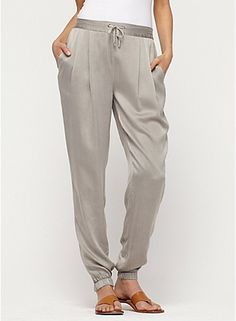 Eileen Fisher- Drawstring Ankle Pant in Vintage Washed Silk Charmeuse Eillen Fisher Loose Shirts, Silk Charmeuse, Drawstring Pants, Elegant Outfit, Ankle Pants, Fall Trends, Eileen Fisher, Summer Outfits, Pants For Women