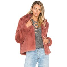 Lovers + Friends x REVOLVE Mia Faux Fur Jacket (373 AUD) ❤ liked on Polyvore featuring outerwear, jackets, coats & jackets, faux fur jacket, red faux fur jacket, red jacket and fake fur jacket