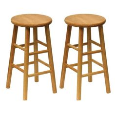 "Furniture - This solid wood barstool with beveled seat is a classic design that fits well in the kitchen for your counter tops or high tables. The seat height is 24"" with a"