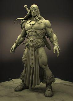 Fantasy Warrior, Fantasy Art, Comic Books Art, Comic Art, Statues, Conan Der Barbar, Character Art, Character Design, Conan Comics