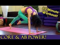 20 Minute Yoga Workout for Core Strength, Abs & Arms, Power Plank Pose Fitness Training Routine